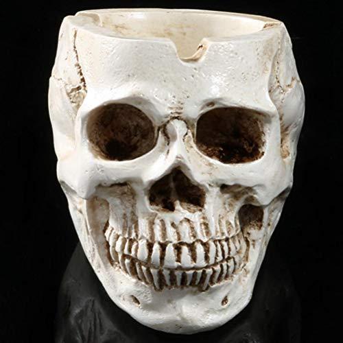 YURASIKU Creative Skeleton Head Style Ashtray, Resin Skull Head Model Halloween Home Decoration Party Ornament Accessory