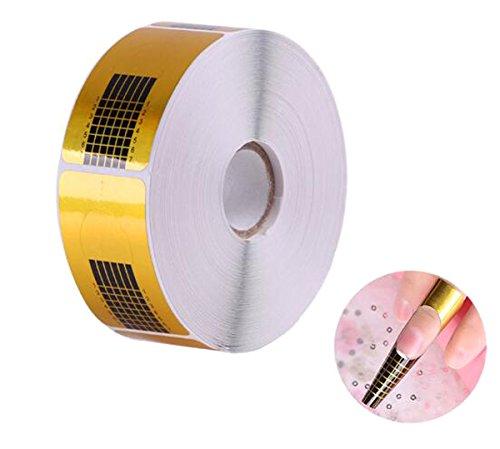 500 Pcs Self-adhesive Golden Rectangle Nail Polish Nail Paper Care Support - Nail Guide Form for Acrylic Nail Art Tips ()
