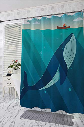 - Whale Hotel Style Shower Curtain Huge White Whale Under The Ocean with Sailor on Water with Rays of Sun Print Western Shower Curtains Blue and White W48 x L84