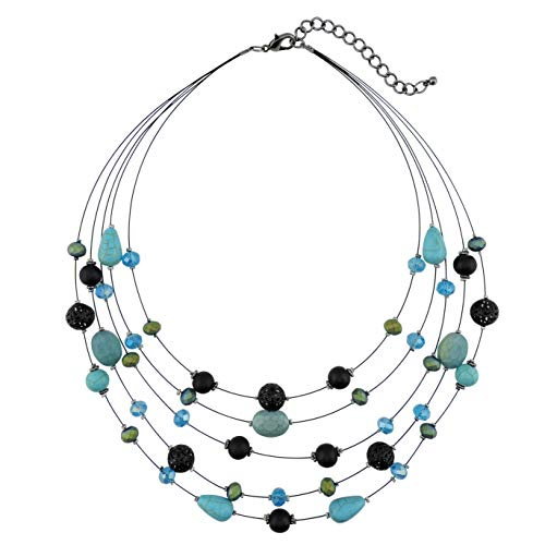 COIRIS 5Layer Multi Color Beaded Illusion Wire Collar Statement Necklace for Women (N0026) (Teal)