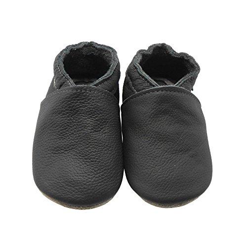 Sayoyo Baby Soft Sole Prewalkers Anti-Skip Baby Toddler Shoes Cowhide Shoes (6-12 Months, Dark Grey) by Sayoyo (Image #2)