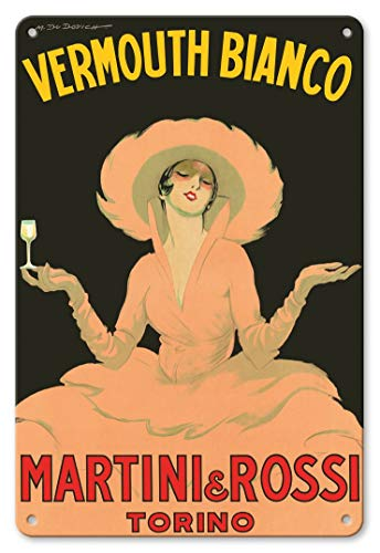LHZJ Fashionable Vermouth Bianco - Martini & Rossi - Torino (Turin), Italy by Marcello DudovichWall Sign 8X12 inches Metal tin Sign ()