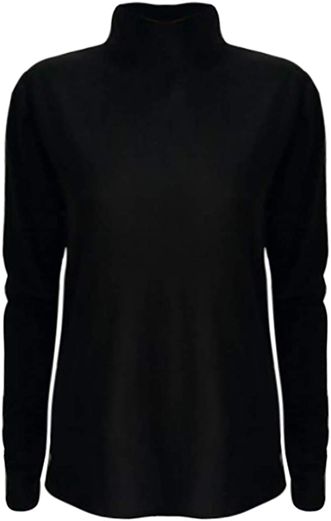 DONTAL Women Solid Slim Long Sleeve Mock Turtleneck Stretch T Shirt Layer Top Pullover Blouse
