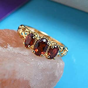 14K Yellow Gold Plated 925 Sterling Silver Oval Garnet Openwork Trilogy Ring Jewelry for Women 0.9 Cttw