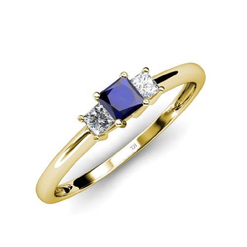 Tw Three Diamond Anniversary Ring (Blue Sapphire and Diamond (SI1-SI2, G-H) Three Stone Ring 0.38 ct tw in 14K Yellow Gold.size)