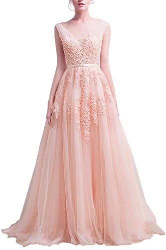 Ivydressing signore applicazioni di pizzo elegante la-linea tulle lungo Promkleid vestito da partito abito da sera rosa 44