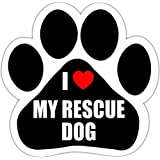 """I Love My Rescue Dog"" Car Magnet With Unique Paw Shaped Design Measures 5.2 by 5.2 Inches Covered In UV Gloss For Weather Protection"