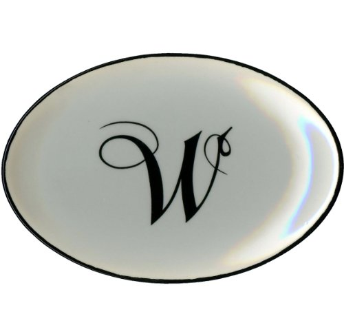 Letter W - Mud Pie Monogram Initial Coin Holder or Soap Dish 257318 5.5x3.75x.75