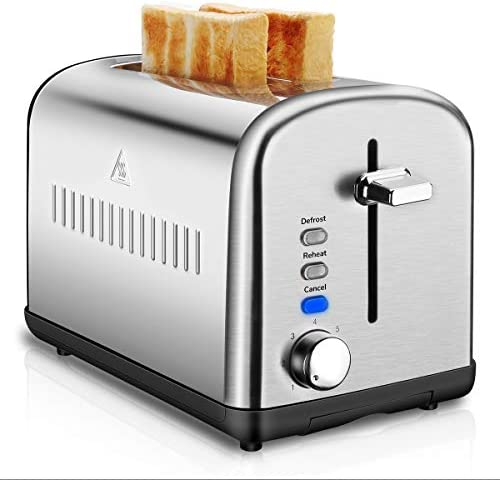 2 Slice Toaster, Stainless Steel Toasters Cool Touch with Extra-Wide Slots, Defrost Reheat Cancel Function, 7 Browning Dials and Removable Crumb Tray Silver