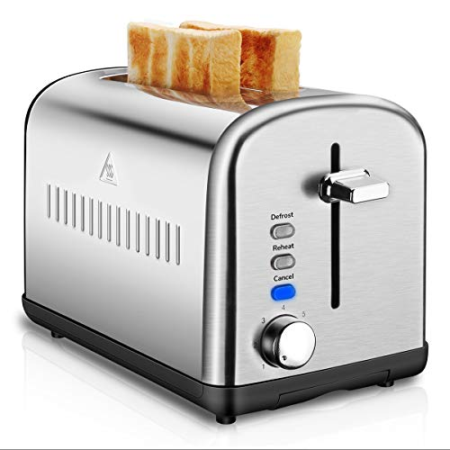 2 Slice Toaster, Stainless Steel Toasters Cool Touch with Extra-Wide Slots, Defrost/Reheat/Cancel Function, 7 Browning Dials and Removable Crumb Tray (Silver)