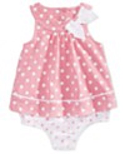 First Impressions Baby Girl's Pink Tulip Polka Dot Sleeveless Romper