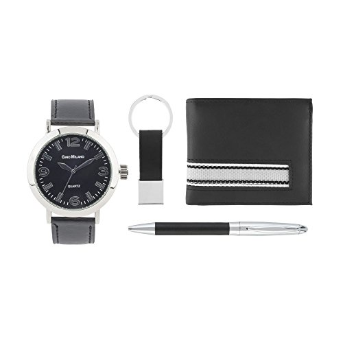 (Classy Faux Leather Strap Watch Gift Set with Matching Bi-Fold Wallet, Matching Pen, Matching Key Chain by GINO MILANO-Black)