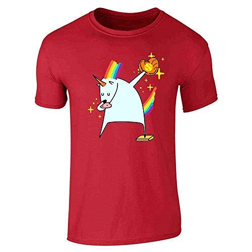 Dabbing Unicorn Softball Shirt Red L Short Sleeve T-Shirt