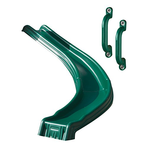 (Swing-N-Slide WS 8338 Side Winder Curved Plastic Slide for 4' Decks with Safety Handles, Green)