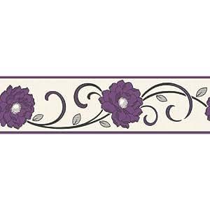 Fine Décor - Cenefa para pared (173 cm), diseño de flores, color morado