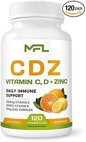 MFL C D Z   Vitamin C, 1000mg   Vitamin D3, 125mcg   Zinc, 25mg   Non-GMO & Gluten Free   120 Vegetarian Capsules   120 Servings