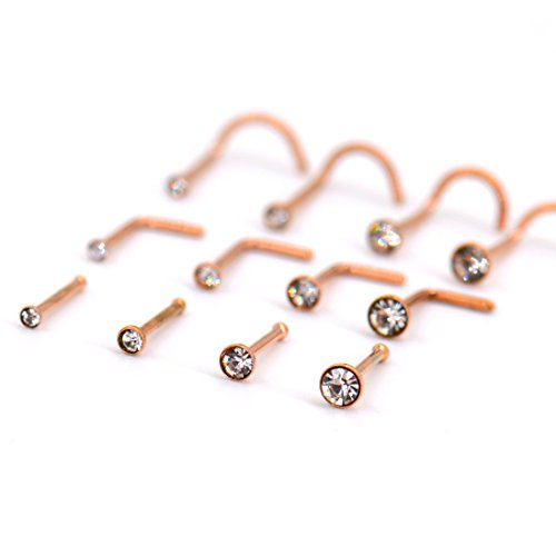 Nose Rings Studs Set [316L Stainless Steel] Piercing Body Jewelry [Rose Gold] w/ Bezel CZ Cubic Zirconia Crystals [Sizes 1.5mm 2mm 2.5mm 3mm] 2.5 Mm Bezel