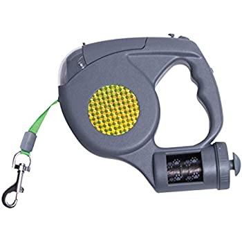 Sharper Image 3 in 1 Retractable Dog Leash with Flashlight and Waste Bag Dispenser (Grey)