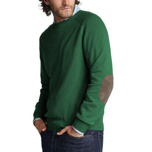 Parisbonbon Men's 100% Cashmere Elbow Pad Sweater Color G...