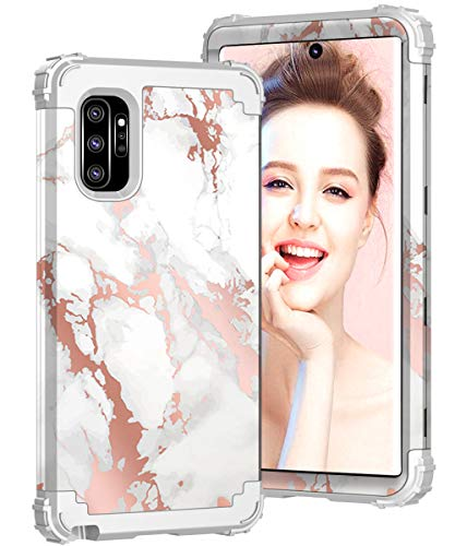 Galaxy Note 10 Plus Case, ZHK Marble 3 Layer Heavy Duty Shockproof Case Hard PC Cover+Silicone Rubber Hybrid Sturdy Armor Full-Body Protective Case for Samsung Galaxy Note 10 Plus (2019)-Gray (Best Protective Case For Galaxy Note 3)