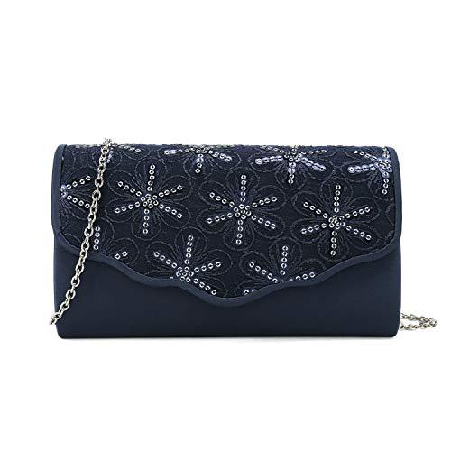 Sequined Handbag Floral - Charming Tailor Satin Clutch Purse Floral Sequins Bag for Women Evening Bag Small Formal Party Handbag (Navy)