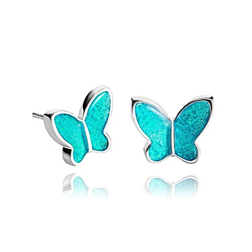 Small Cute 0,47 inch Brilliant Topaz-Blue Butterfly Post Earrings for Lady