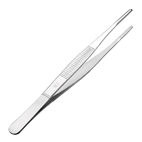 Utility Tweezers - uxcell 1 Pcs 7-Inch Stainless Steel Straight Blunt Tweezers with Serrated Tip