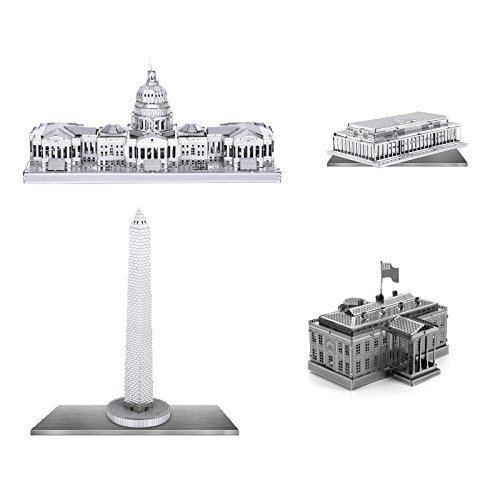 Set Of 4 Metal Earth 3D Laser Cut Building Models  Kennedy Center   United States Capitol   White House   Washington Monument