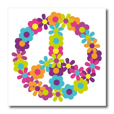 3dRose ht_124615_2 Peace Sign Made Up of Blue, Pink, Purple, and Green (Peace Sign Fabric)
