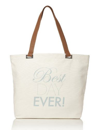 [Best Day Ever Tote Bag by Dessy - Ivory] (Bridal Embroidered Tote)