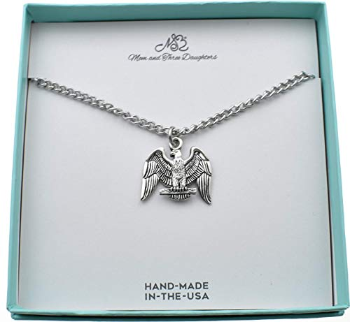 - Eagle charm pendant in silver pewter on a 22