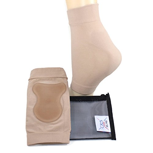 CRS Cross Achilles Heel Sleeve - Padded compression gel sleeve/sock for cushion & protection of Haglunds bump, tendonitis, and bursitis (2 sleeves with bag) by CRS Cross Gel Pads