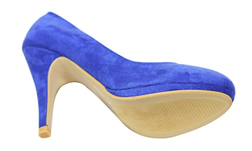 Bella Marie Celo-1 Femmes Plate-forme Dorteils En Amande Multi Couleur Daim Talons Hauts Chaussures Stilettos Bleu Royal