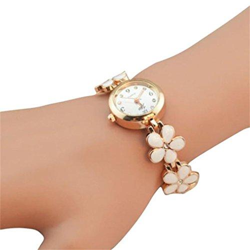 Winhurn Fashion Gift Daisy Flower Rose Gold Women Wrist Watch (Polar Blood Pressure Watch)