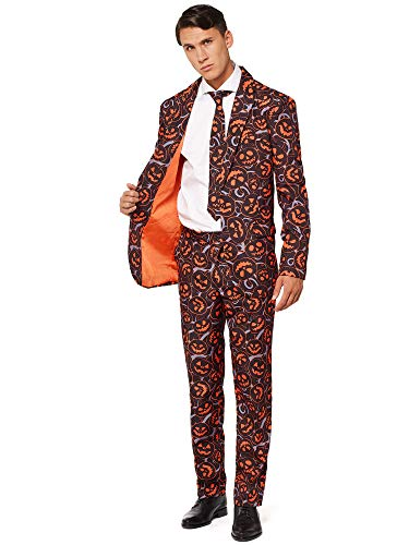 OFFSTREAM - Scary Pumpkins - Halloween Suits for Men in Different Prints - Costumes Include Jacket, Pants and Tie