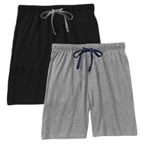 Hanes Men`s Jersey Lounge Drawstring Shorts with Logo Waistband 2-Pack (Large, Grey Heather Blue String/Black)