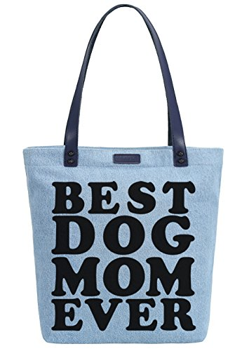 Tote Shoulder Mom Best Bag Ever Women's Dog Shopper Azul Denim Handbag Dye So'each tzqp8wZ