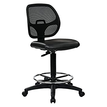 Image of Office Star Deluxe Vinyl Seat and Mesh Back Drafting Chair with 20-inch Diameter Adjustable Footring, Black Home and Kitchen