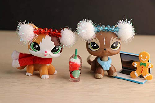 Judylovelps lps Custom Shorthair Cat Elk Meow Kitten with Christmas Accessories Headband Ginggerbread Man Kids Collectable Figures (Christmas Customs Lps)
