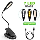 7 LED Book Light, USB Rechargeable 3 Modes Clip Reading Light for Beds Readers, Kids, Desk, Headboard, LED Clip on Lamp Built in Battery for Reading Books, Magazine, Kindle [USB Cable Included]