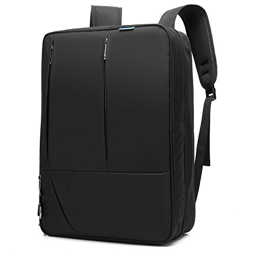 CoolBELL Convertible Messenger Bag Backpack Shoulder bag Laptop Case Handbag Business Briefcase Multi-functional Travel Rucksack Fits 17.3 Inch Laptop For Men / Women (Black)