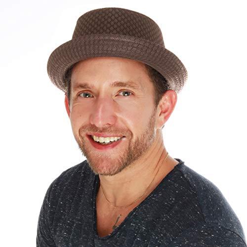 THE HAT DEPOT Light Weight Classic Soft Cool Mesh Porkpie hat (L/XL, Brown)