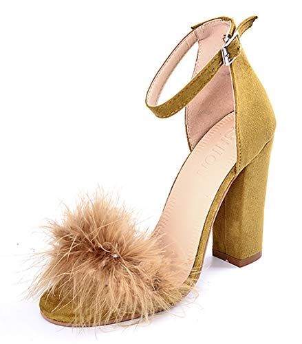 - Women's High Heel Platform Dress Pump Sandals Ankle Strap Block Chunky Heels Party Shoes - Mustard 9.5