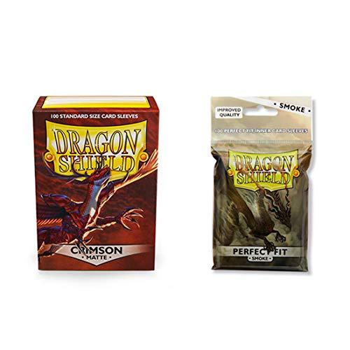 Dragon Shield Matte Crimson + Inner Sleeve Smoke Standard Size 100 ct Card Sleeves Bundle