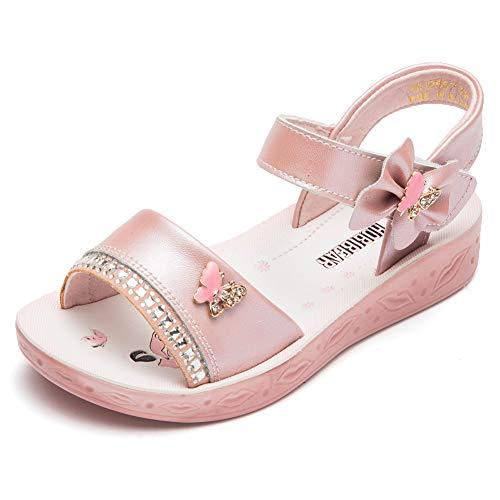 GUBARUN Open Toe Sandals Flower Glitter for Girls 13.5 M Pink (Flower Sandals Pink Girls)
