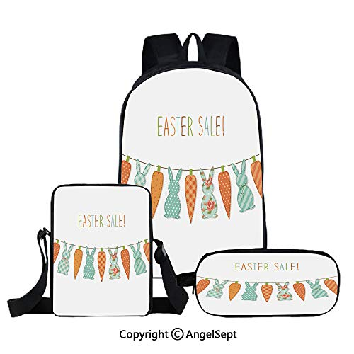Easter Bunny Bunting - Fashion Backpack Set for School 3 in 1,Cute childish Easter bunting with bunnies and carrots and hand written text,Three-piece Bag With Crossbody Pencil Bag