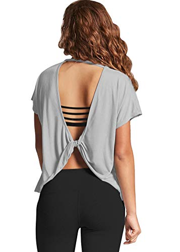 Mippo Womens Sexy Backless Shirt Stretchy Cute Open Back Shirts Knotted Sport Loose Fit Summer Trendy Clothes Gym Sport Wear Crops Tops for Junior Gray M