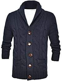 Men's Shawl Collar Cardigan Sweater Button Front Solid Knitwear