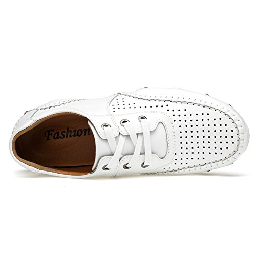 Go Tour Mens Mocassini In Pelle Casual Driving Shoes Bianco Perforato 39