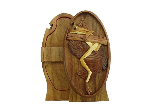 Hanging Tree Frog Coqui Hand-Carved Puzzle Box with No Paints! No Stains! Hidden Felt Lined Interior That hides Jewelry, Gift Cards, or Money. No Two Will Ever be Identical! Pet ()